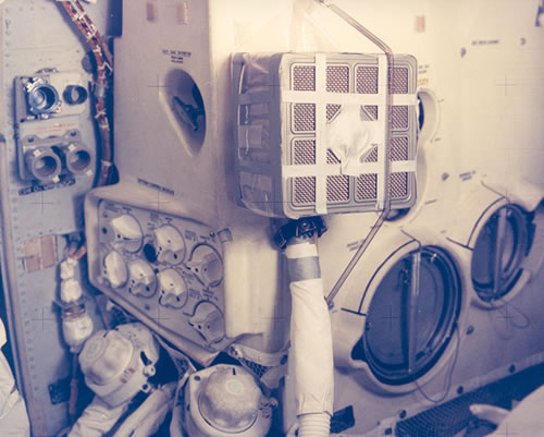 Duct tape holding together the lunar module on Apollo 13